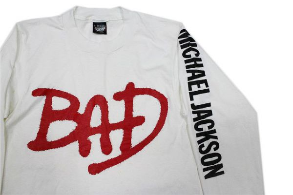 デッドストック!80'sUSA製マイケルジャクソン BAD バッド長袖Tシャツ白(S)MJロンT袖プリントロックTバンドT