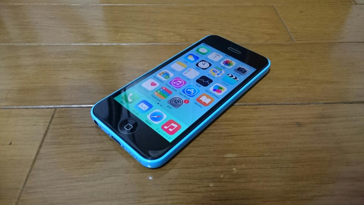 即落/即発!!au 美中古品 iPhone 5c 16GB ブルー_画像1