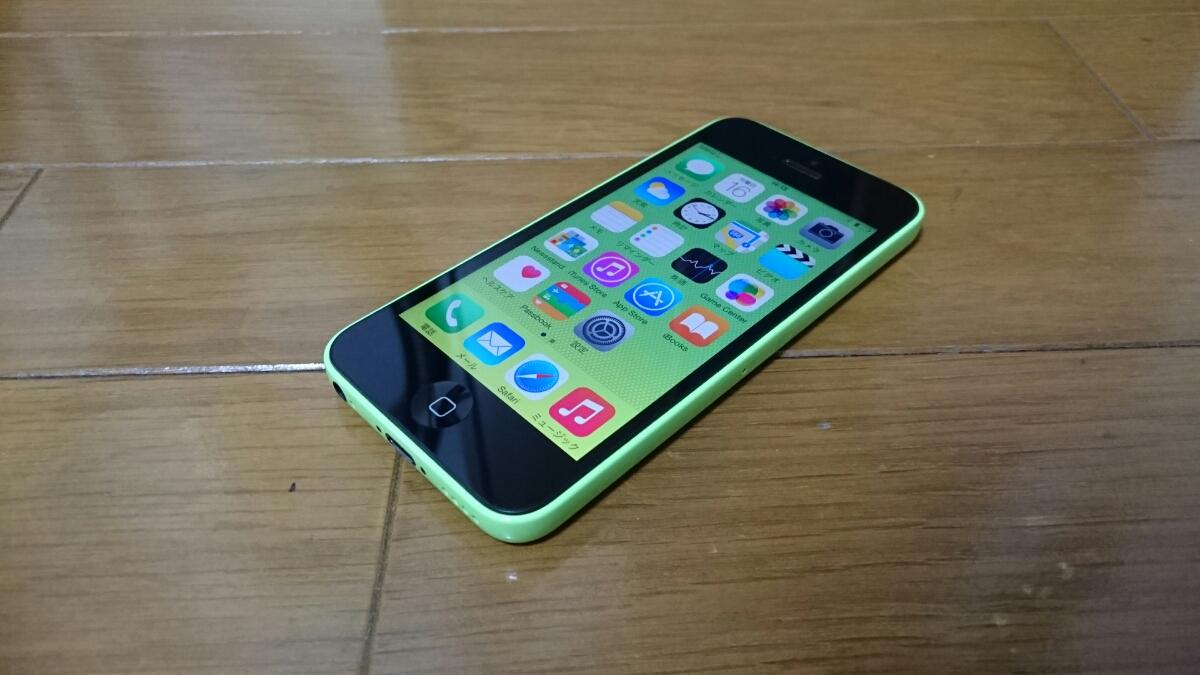 即落/即発!!au 美中古品 iPhone 5c 16GB グリーン_画像1