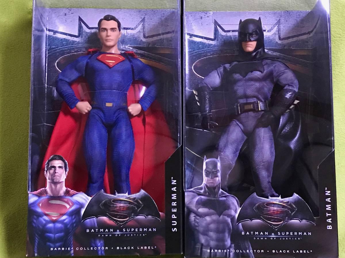 マテル社 バービー ブラックレーベル 12インチ バットマンvsスーパーマン ジャスティスの誕生 バットマン + スーパーマン 2種セット グッズの画像