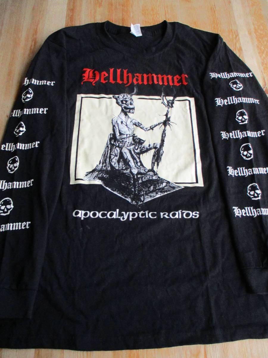 中古 HELLHAMMER 長袖 Tシャツ apocalyptic raids 黒M ヘルハマー ロンT / slayer celtic frost bathory messiah mayhem morbid