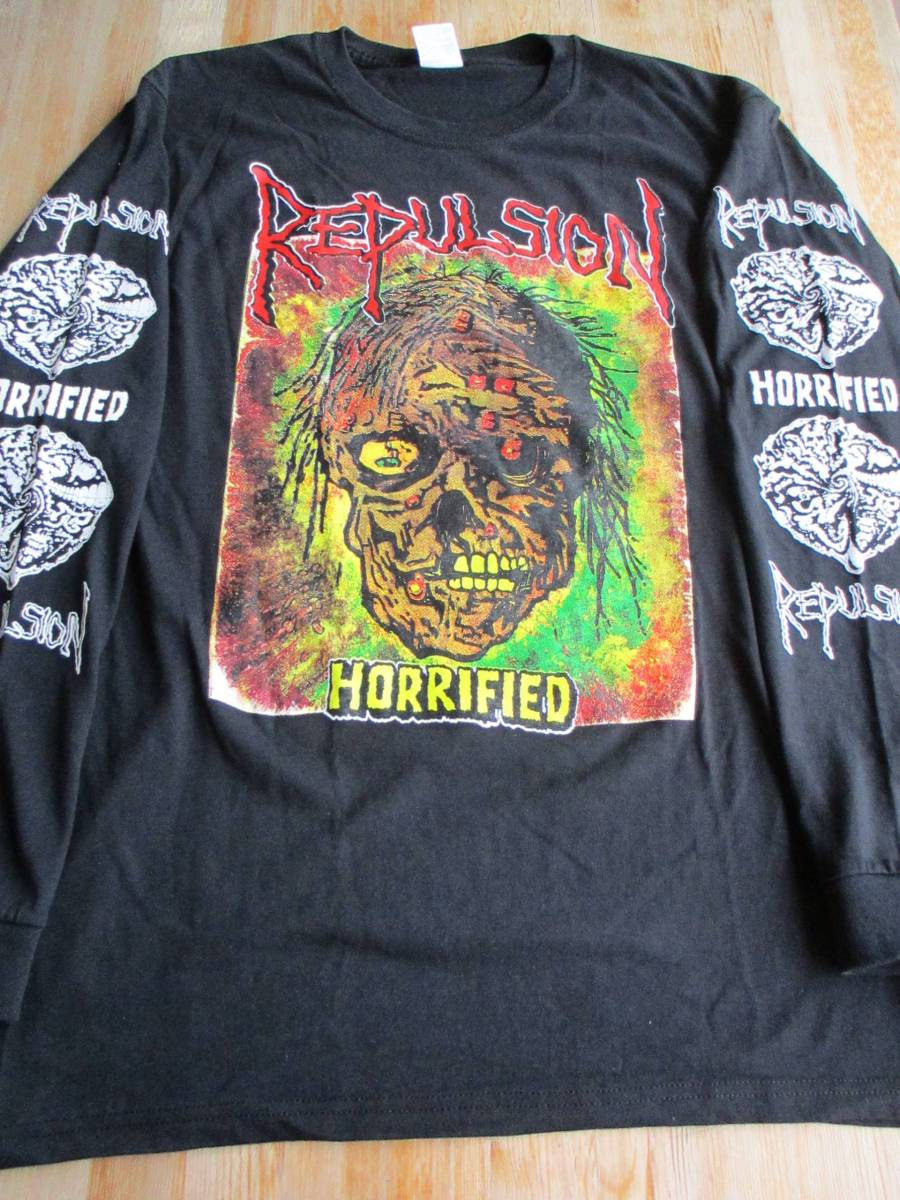 REPULSION 長袖 Tシャツ horrified 黒L ロンT / genocide napalm death terrorizer carcass exhumed earache