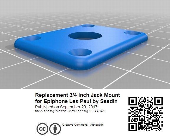 ジャックマウントプレート / エピフォン・レスポールモデル等適合サイズ / PLA(植物由来ポリ乳酸樹脂)/ ライトグリーン_画像3