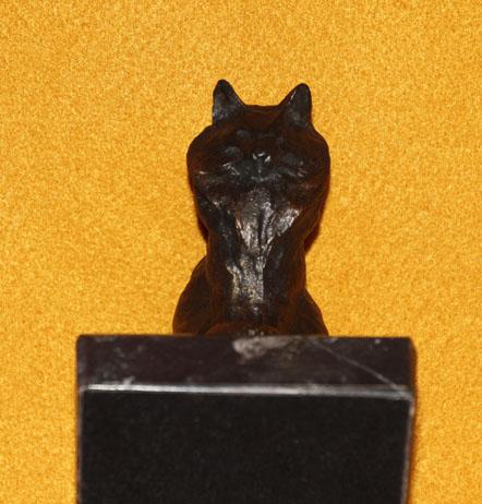 アンゴラの猫 ブロンズ風 大理石 レプリカ  フランス オルセー美術館 スタンラン作  ペーパーウエイト デスクアクセサリ_画像4