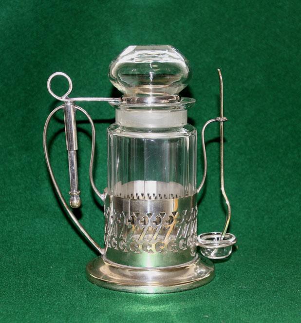 銀製 スタンド付き ガラス ピクルスジャー/ポット ピクルスフォーク付 英国製  アンティーク_画像4