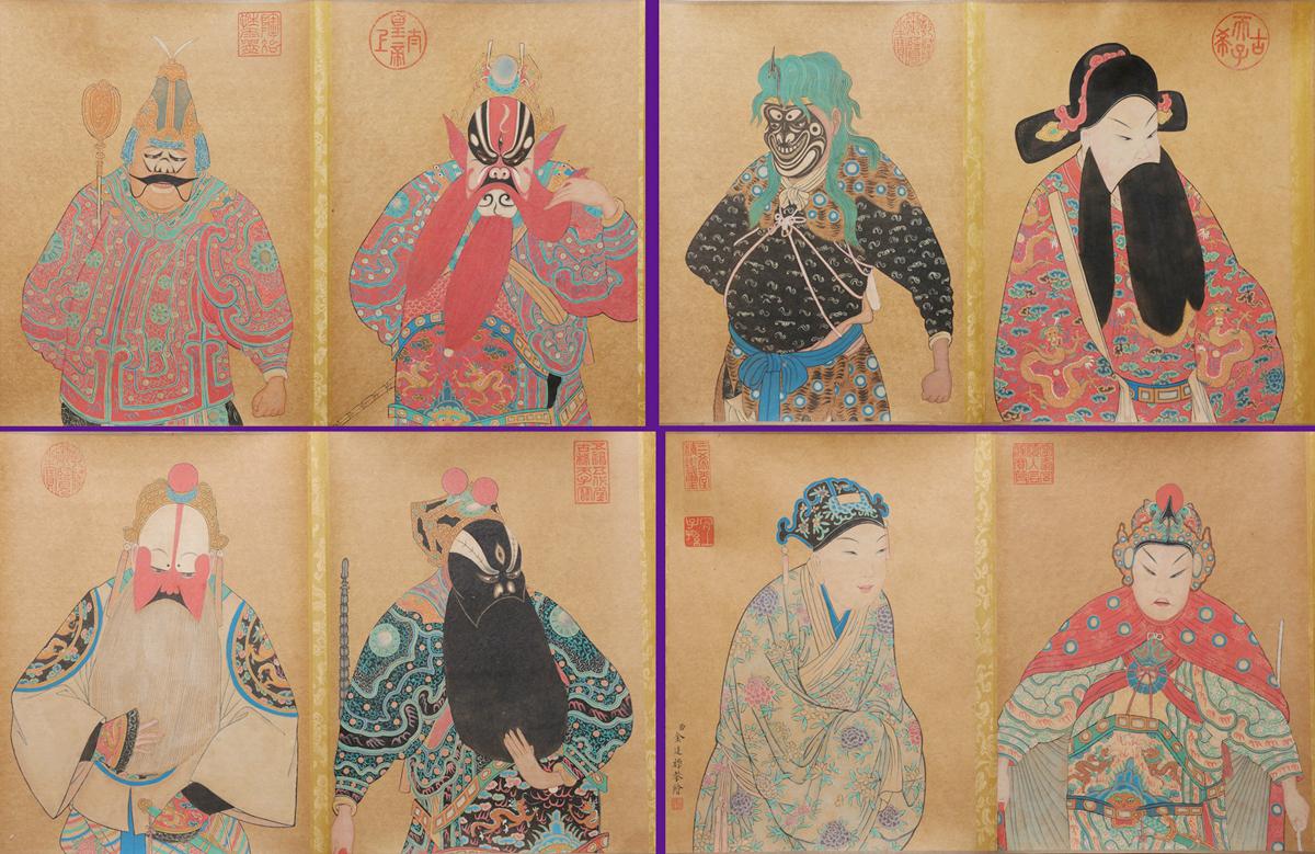 中国美術 中国画 清代画家「金廷標 京劇臉譜図」肉筆紙本 ★掛軸★希少品★