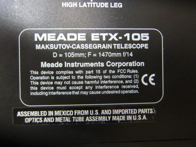 MEADE ETX-105 天体望遠鏡/ミード/D=105mm F=1470mm f/14/MADE IN U.S.A/アルミケース付き/ジャンク#AZ188 _画像8