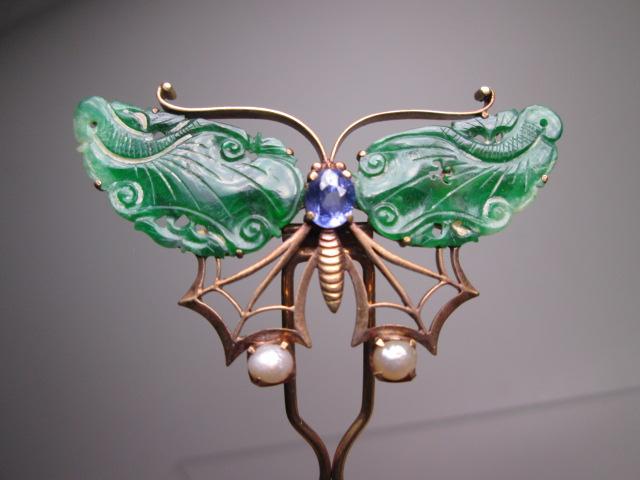 江月】antique・18K this Jade Pearl ornament butterfly Kanzashi 10g wooden box with