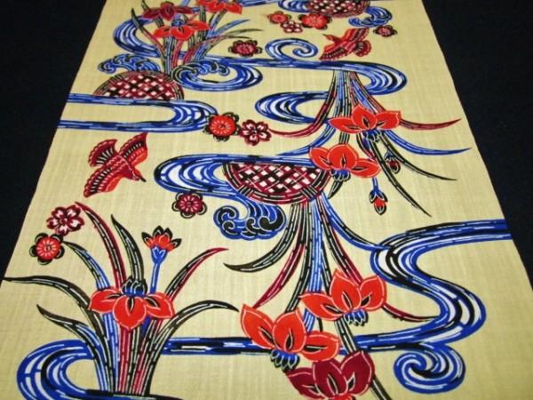 【京わぎれ】化繊 夏紬風 琉球衣装 紅型着尺 地味クリーム地 流水に杜若 12m少難品④