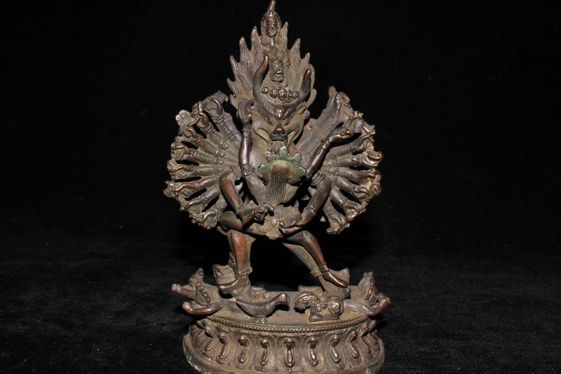 西蔵収集 紫銅製 千手仏 合歓仏 密宗密教 貴重 極上品101308