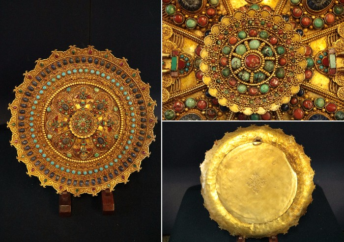 仏教美術 T【チベット密教鍍金曼荼羅 天然ラピスラズリ 天然珊瑚 天然トルコ石 天然