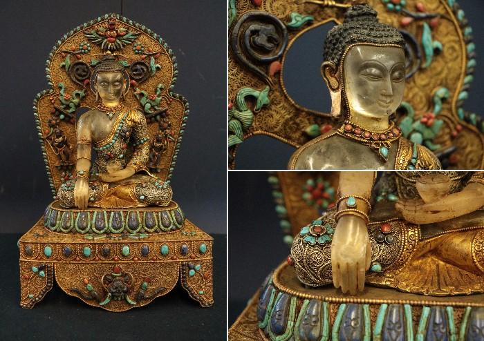 仏教美術 T【本水晶鍍金銀被被チベット密教仏 天然ラピスラズリ 天然珊瑚 天然トルコ