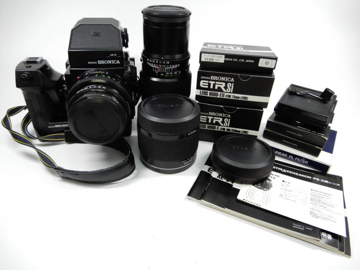 ZENZ BRONICA ETR Si 中判カメラ ゼンザ ブロニカ レンズ3点 ZENZANON-PE 1:2.8 f=75mm