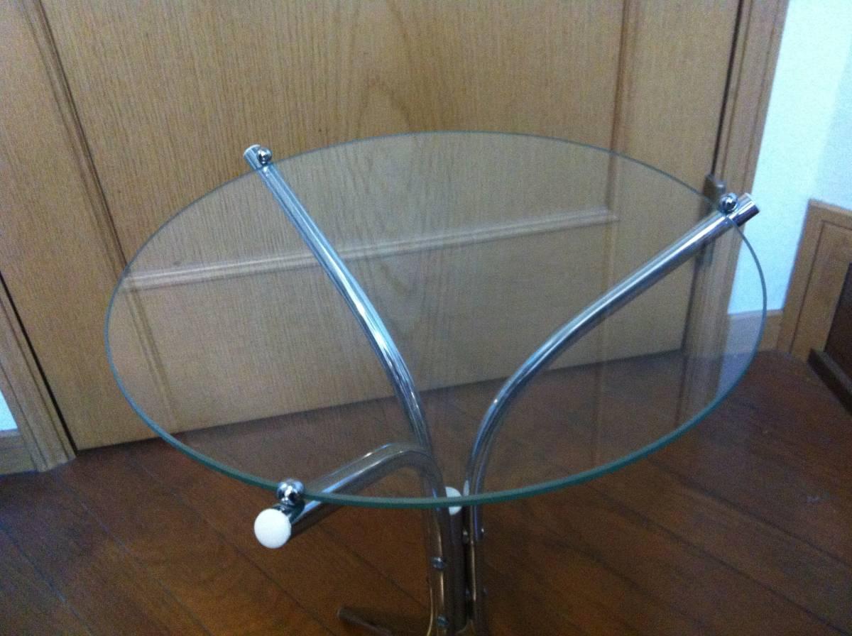 ☆☆ 送料無料 希少 ガラス 天板 小型 サイドテーブル テーブル_画像3
