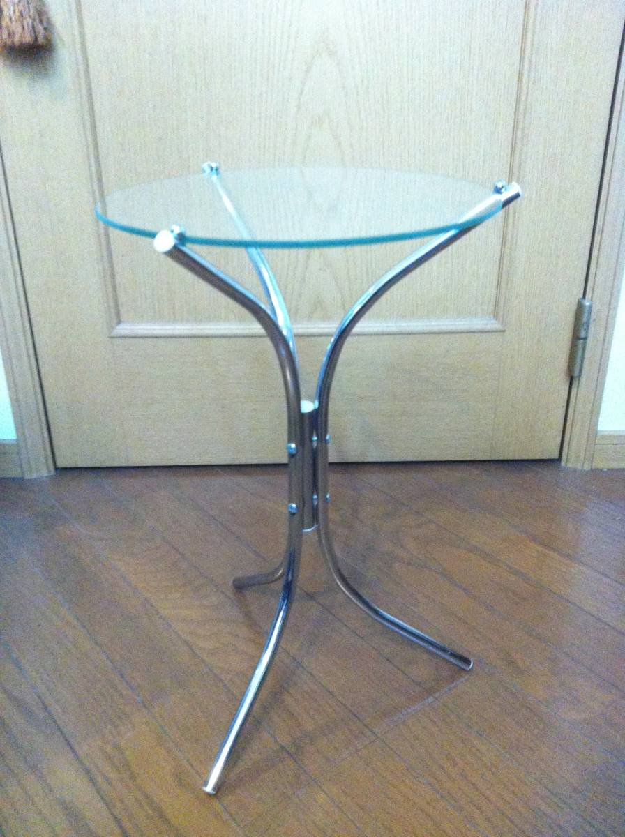 ☆☆ 送料無料 希少 ガラス 天板 小型 サイドテーブル テーブル_画像2