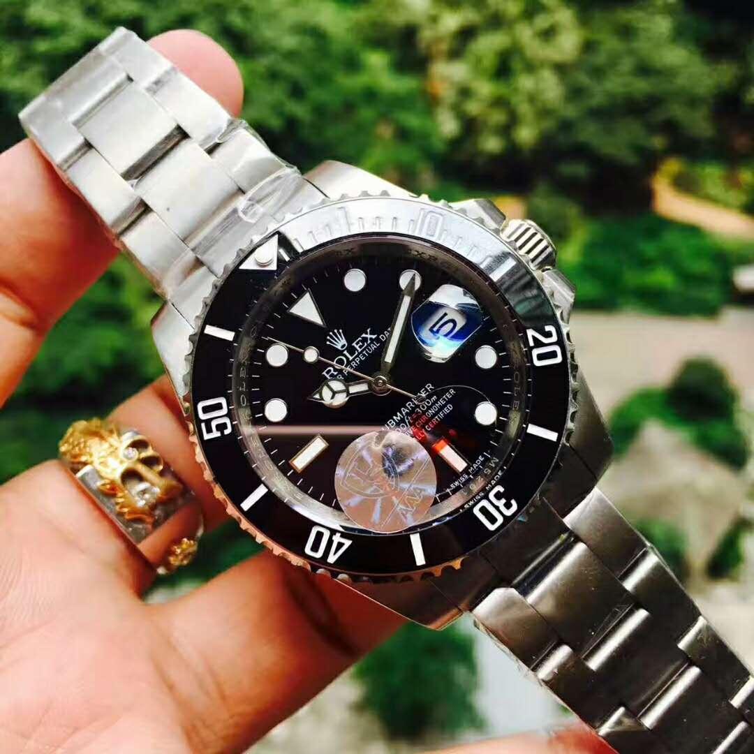 Ro-lex 時計 メンズロレックス 新品 デイト 時計 メンズ ウォッチ オートマ 自動巻 腕時計 黒文字盤 ネイビー ステンレス_画像2