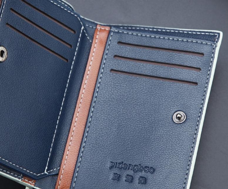 即決! 送料無料 新品 多機能 二つ折り財布 大容量 カード10枚 収納 フリーポケット4ヶ所 ネイビー 17_画像7