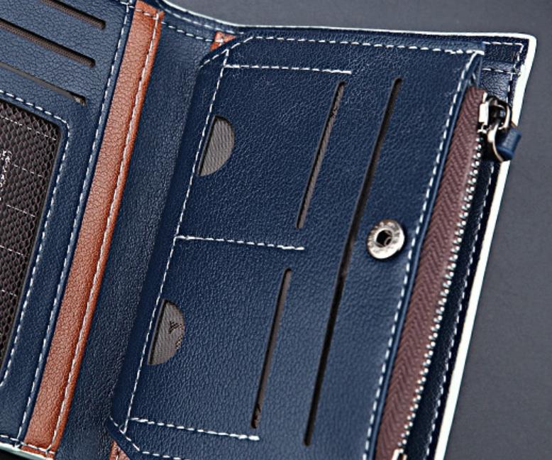 即決! 送料無料 新品 多機能 二つ折り財布 大容量 カード10枚 収納 フリーポケット4ヶ所 ネイビー 17_画像6