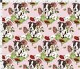 import cloth imported car fabric dog . year Boston terrier . poppy. . flower hand made material