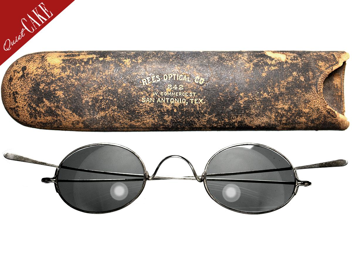 極美品 19世紀後半 USA アンティーク 丸メガネ サングラス ガラスレンズ ケース付 ビンテージ/RRL OLIVER GOLDSMITH ALGHA SAVILE ROW490