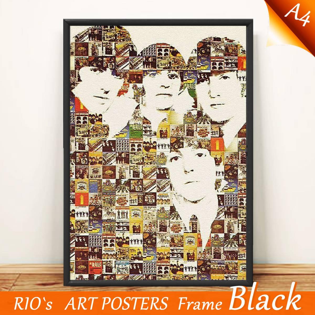 ザ・ビートルズ/The Beatles/ジャケット加工/アートポスター/019/額縁フレーム・ブラック ライブグッズの画像