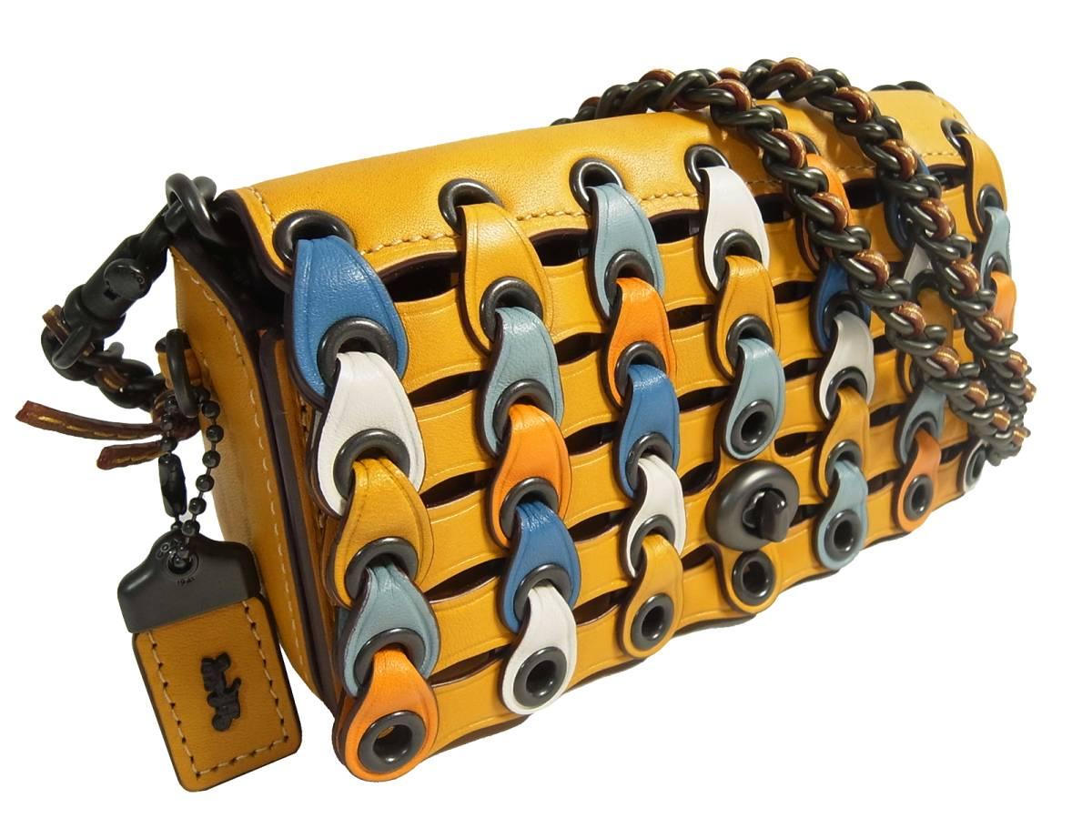 未使用 レア Coach コーチ ディンキアー 2way ショルダーバッグ ポシェット グラブタンレザー イエロー コーチリンク 86832 クラッチ 黄色