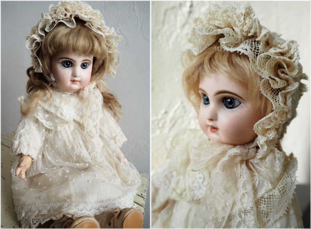 デポゼ テート ジュモー 4号 大きな美しい青い瞳 クリスマスの小さな妖精 フランス アンティーク ビスクドール Depose Tete Jumeau