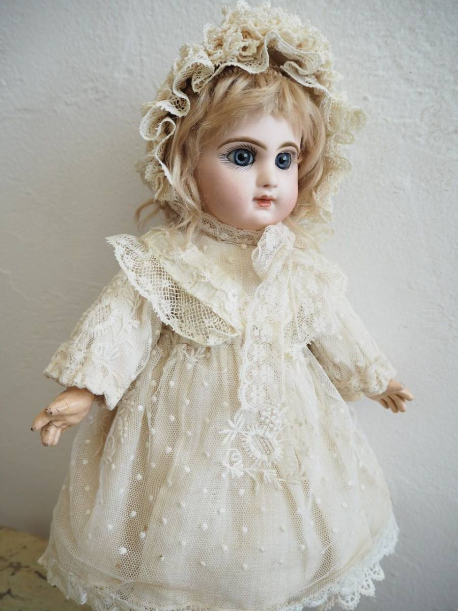 デポゼ テート ジュモー 4号 大きな美しい青い瞳 クリスマスの小さな妖精 フランス アンティーク ビスクドール Depose Tete Jumeau_画像3
