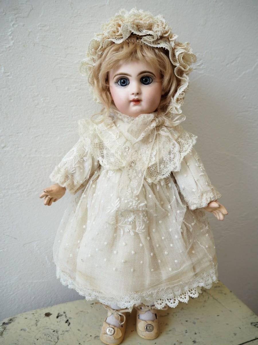 デポゼ テート ジュモー 4号 大きな美しい青い瞳 クリスマスの小さな妖精 フランス アンティーク ビスクドール Depose Tete Jumeau_画像4