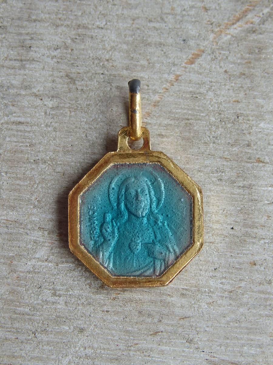 フランスアンティーク メダイ 真鍮ペンダント ネックレス マリア様 聖母 キリスト 教会 カトリック ペンダントトップ 刻印4230 在庫13_画像4