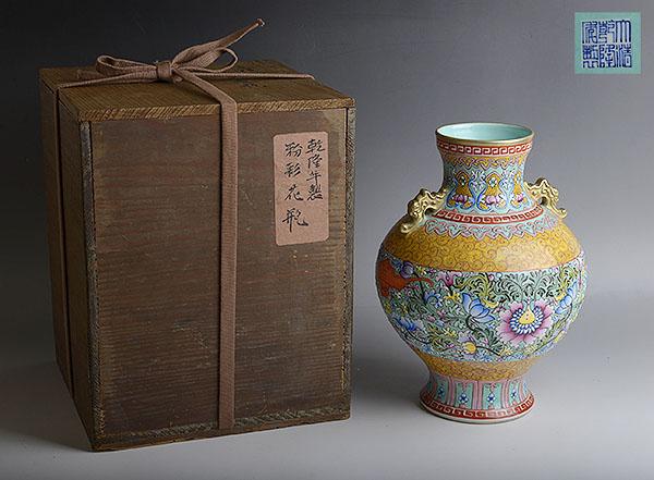■地球屋■中国古玩 大清乾隆年製「粉彩花文花瓶」