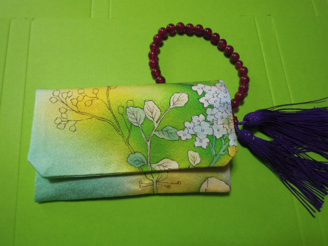 for women beads inserting * water green color series pretty . floral print * silk ground * handmade