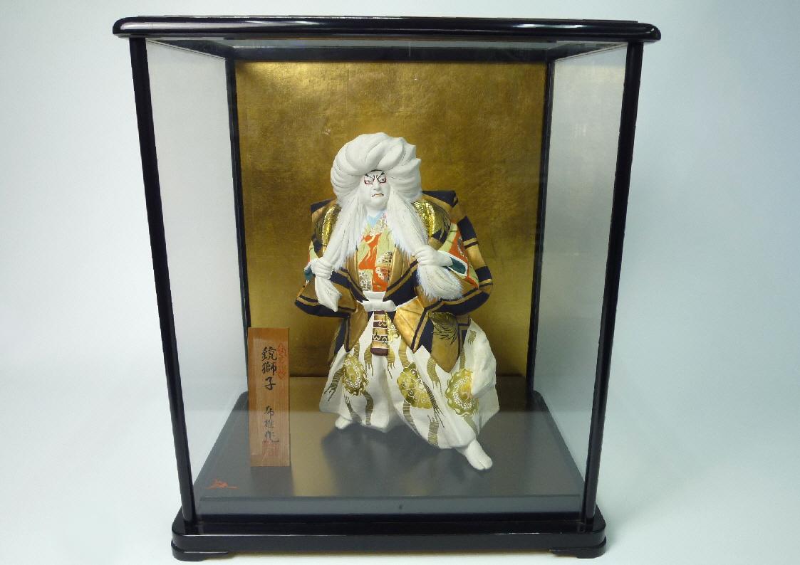 博多人形:はくせん特製◆鏡獅子 川崎虎雄作 木製ガラスケース付★難有_画像1
