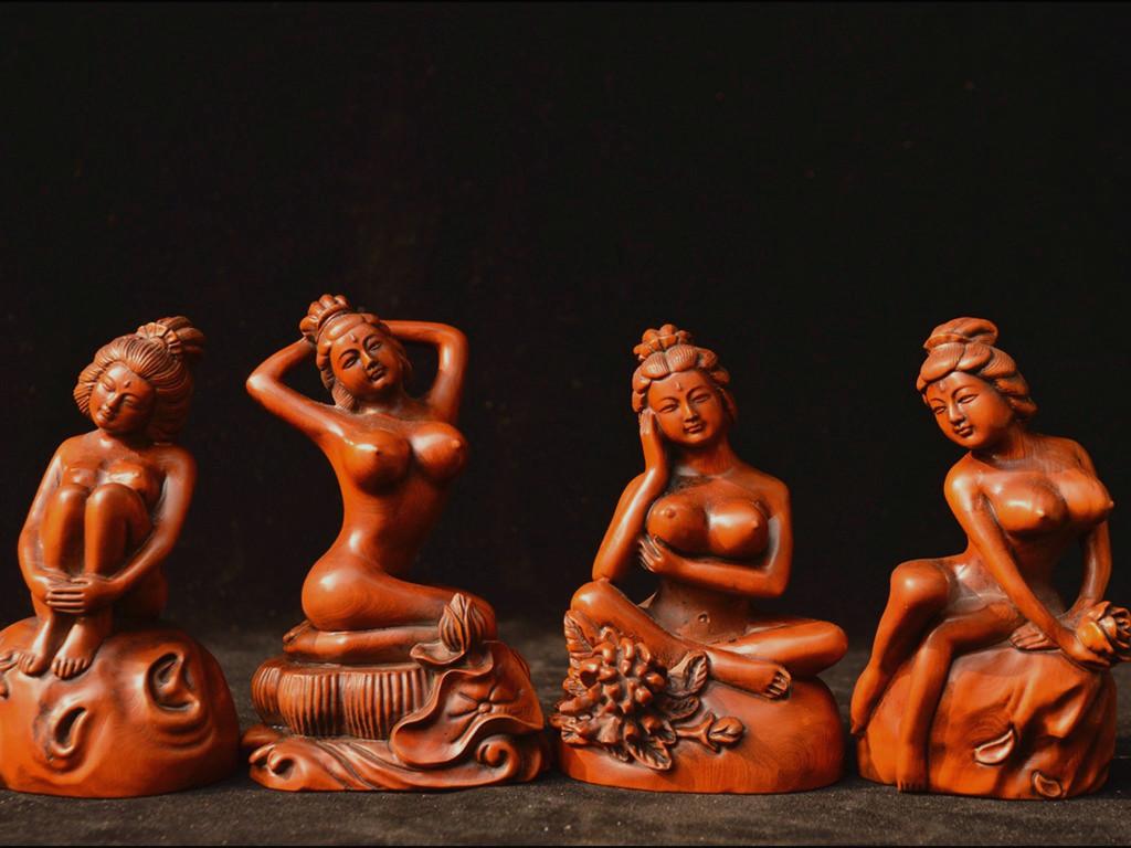 時代物 柘植木手彫 美女沐浴像 四大美女 像 置物 珍品