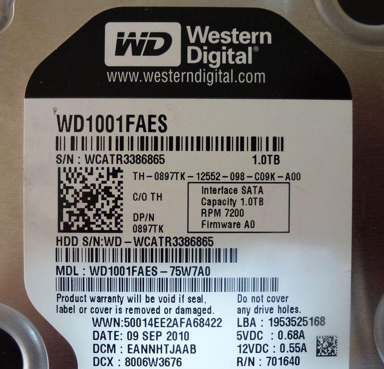 中古 WD 1001FAES 1TB SATA 初期化済_画像2
