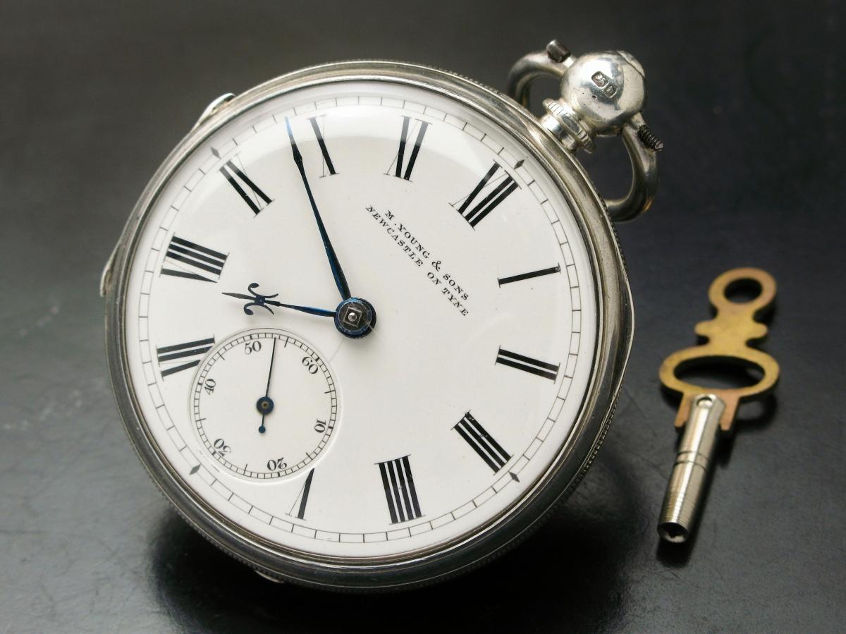 イギリス製 銀無垢 鍵巻き 懐中時計 フュージー 鎖引き 1878年 明治11年_画像2