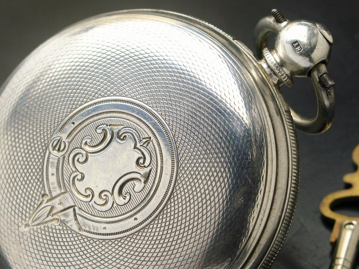 イギリス製 銀無垢 鍵巻き 懐中時計 フュージー 鎖引き 1878年 明治11年