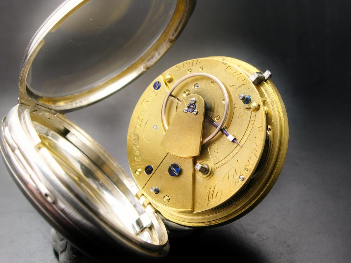 イギリス製 銀無垢 鍵巻き 懐中時計 フュージー 鎖引き 1878年 明治11年_画像3