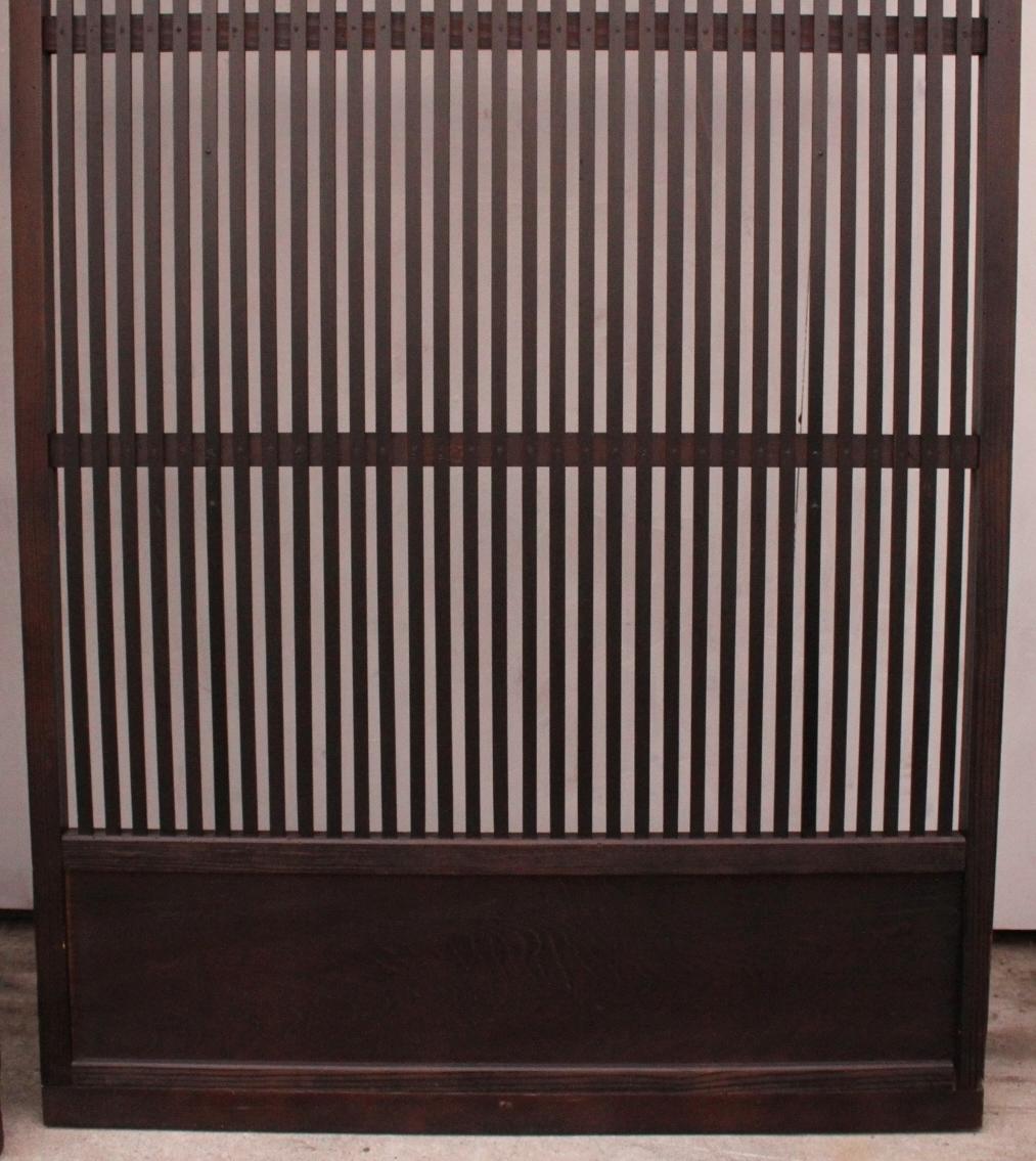 【現状販売/直接引取限定】黒格子戸 4枚1組 古建具/骨董/古民具_画像4