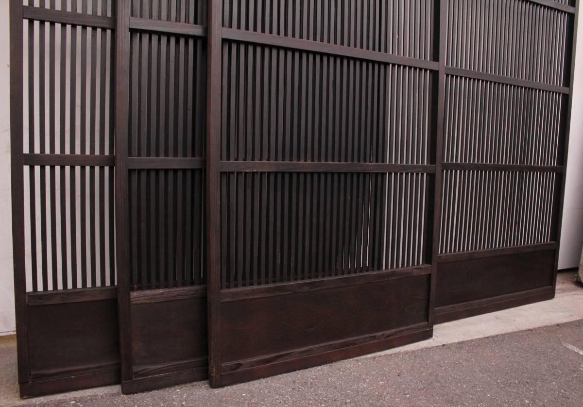 【現状販売/直接引取限定】黒格子戸 4枚1組 古建具/骨董/古民具_画像9