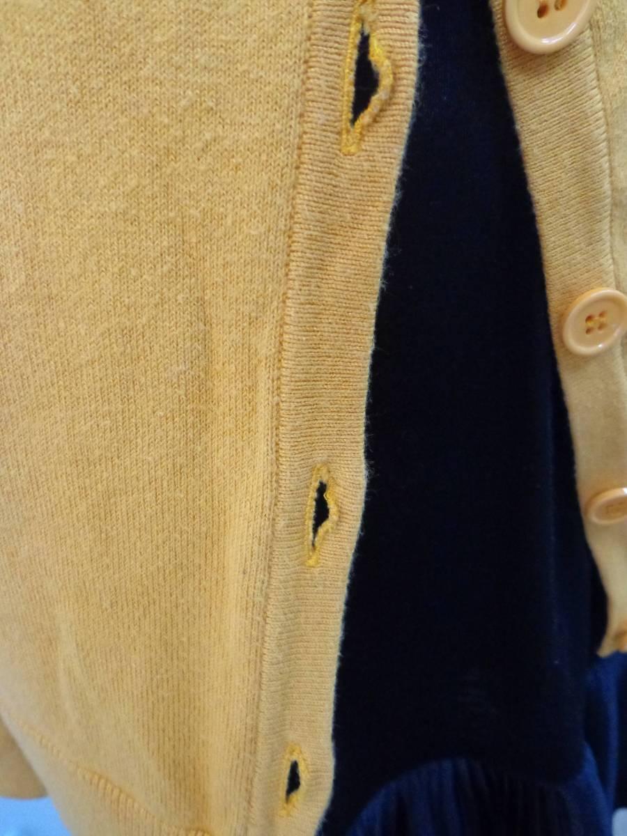 979 SLY スライ 秋冬 シンプル コットン混 カシミヤ混 フロントボタン リブ 長袖 チュニック丈 ニット 深Vネック カーディガン S オレンジ_ボタンホール伸び/インナーは非売品です