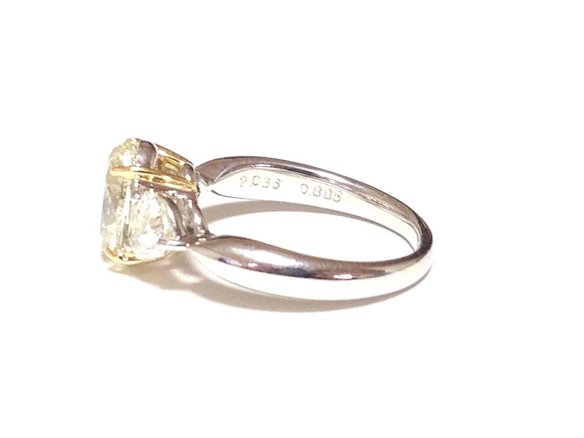 必見!美しく輝かせる大変ゴージャスな2.036カラットダイヤリング脇石0ハートシェイプ0.885ct セレブでエレガントなダイヤPTリングです_画像2
