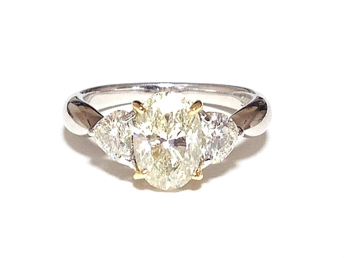 必見!美しく輝かせる大変ゴージャスな2.036カラットダイヤリング脇石0ハートシェイプ0.885ct セレブでエレガントなダイヤPTリングです_画像3