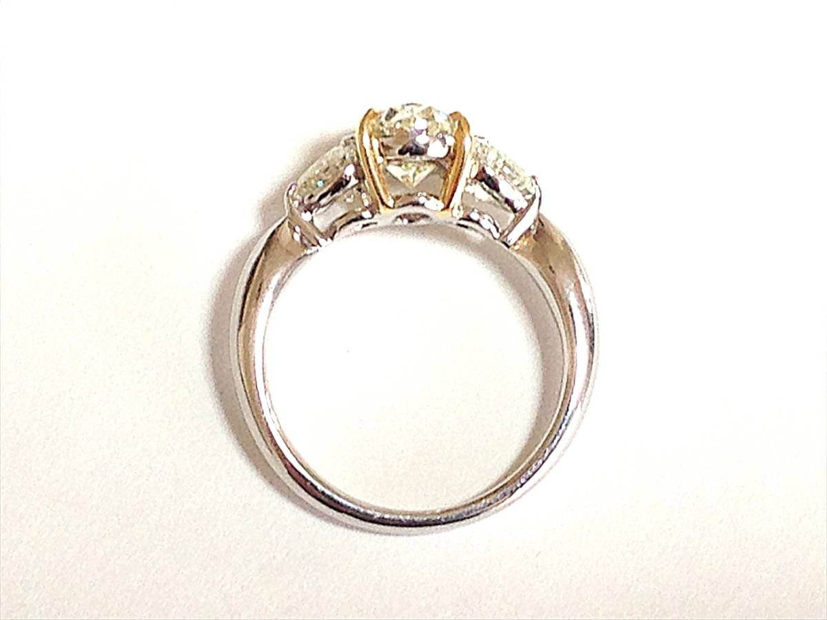 必見!美しく輝かせる大変ゴージャスな2.036カラットダイヤリング脇石0ハートシェイプ0.885ct セレブでエレガントなダイヤPTリングです_画像5