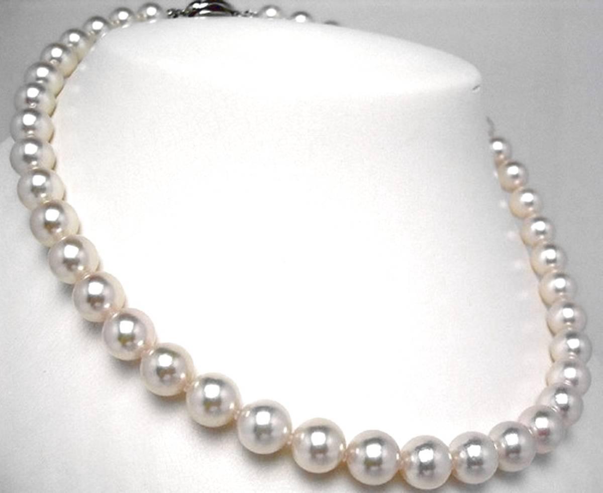 特売!お買い得 稀少あこや9.5mmUP ビックサイズ 最高級 オーロラ花珠真珠ネックレス