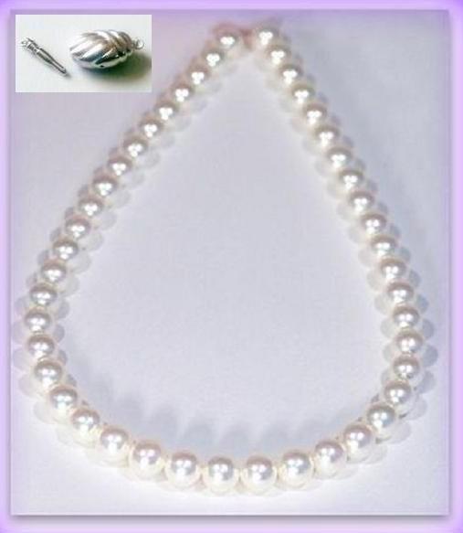 必見 照り巻最高 大珠 最高級 オーロラ花珠真珠ネックレス 9mm-9.5mm ホワイト系ややピンク 9mmイヤリング又はピアス付 真科研鑑別付