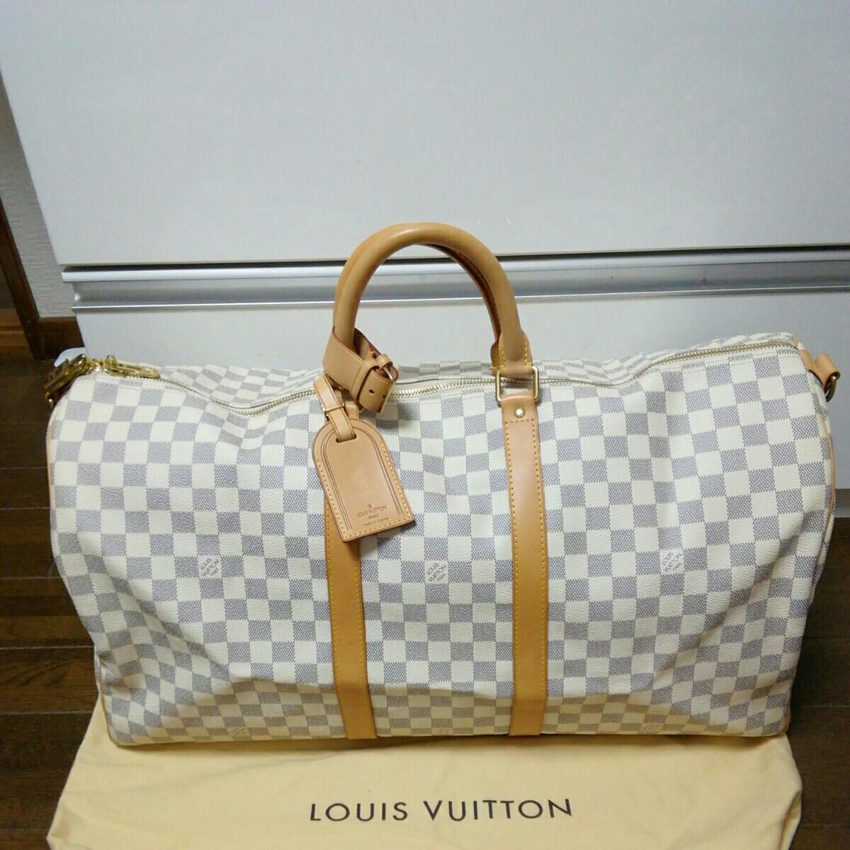美品 LOUIS VUITTON ルイ ヴィトン ダミエ アズール キーポル バンドリエール 55 ボストン バッグ 人気 1円スタート MB1016
