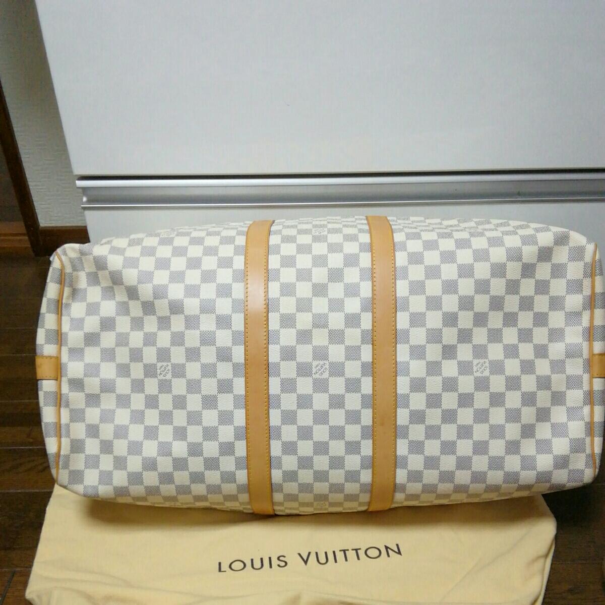 美品 LOUIS VUITTON ルイ ヴィトン ダミエ アズール キーポル バンドリエール 55 ボストン バッグ 人気 1円スタート MB1016_画像5