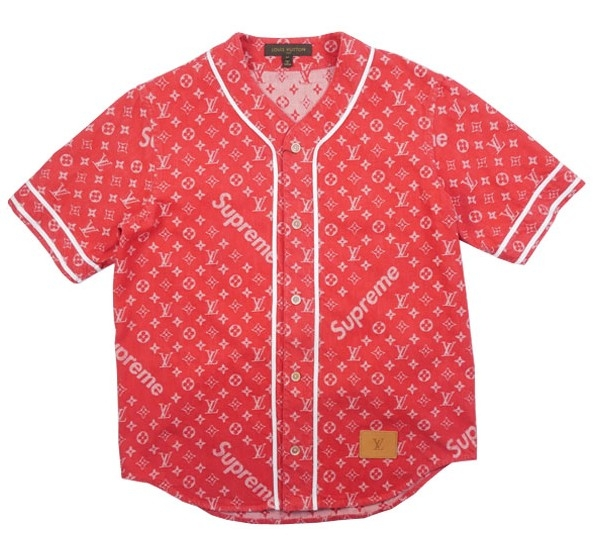 青山POP-UP限定 LOUIS VUITTON×SUPREME BASEBALL ベースボールシャツ L ルイヴィトン×シュプリーム モノグラム