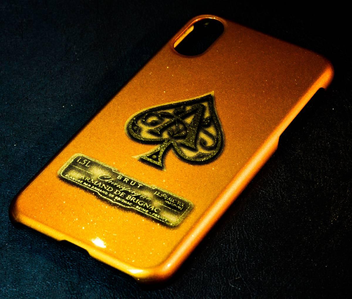iPhoneX ケース カバー カスタムペイント キャンディゴールド ラメ フレーク アルマンド ARMAND アイコス カスタム